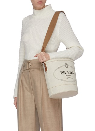 Figure View - Click To Enlarge - PRADA - Logo print canvas bucket bag