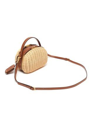 Detail View - Click To Enlarge - PRADA - Logo badge straw leather crossbody bag