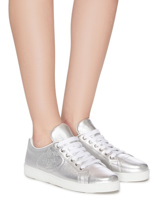 Logo embossed nappa leather sneakers