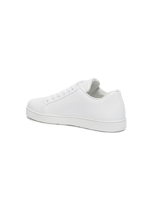 - PRADA - Logo embossed low top lace-up leather sneakers