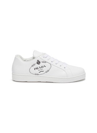 Main View - Click To Enlarge - PRADA - Logo embossed low top lace-up leather sneakers