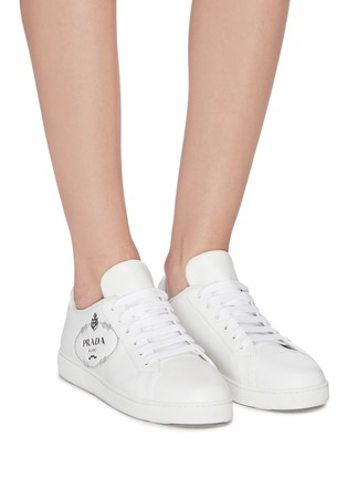 Figure View - Click To Enlarge - PRADA - Logo embossed low top lace-up leather sneakers