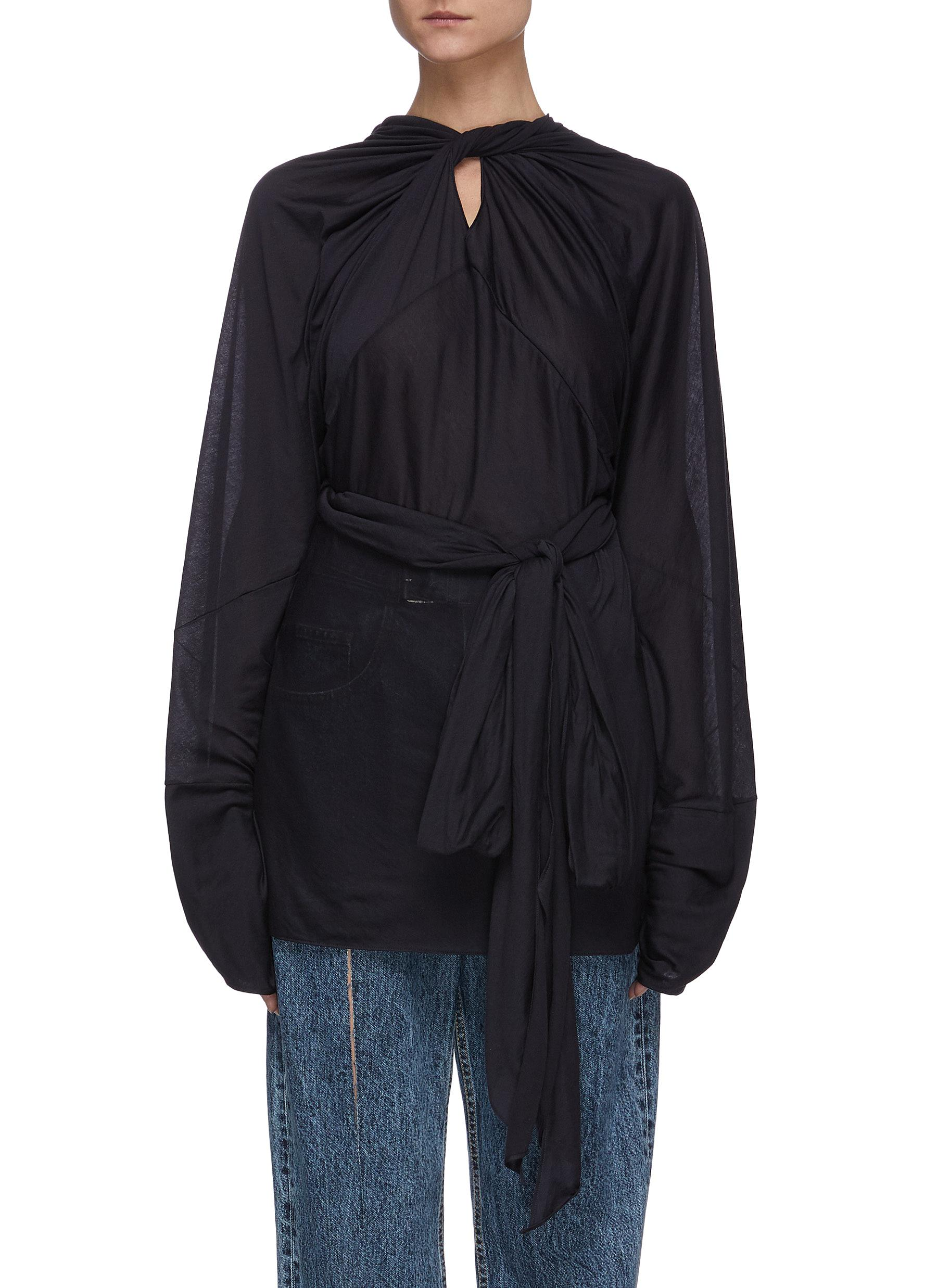 Buy Maison Margiela Tops Cotton silk jersey draped top