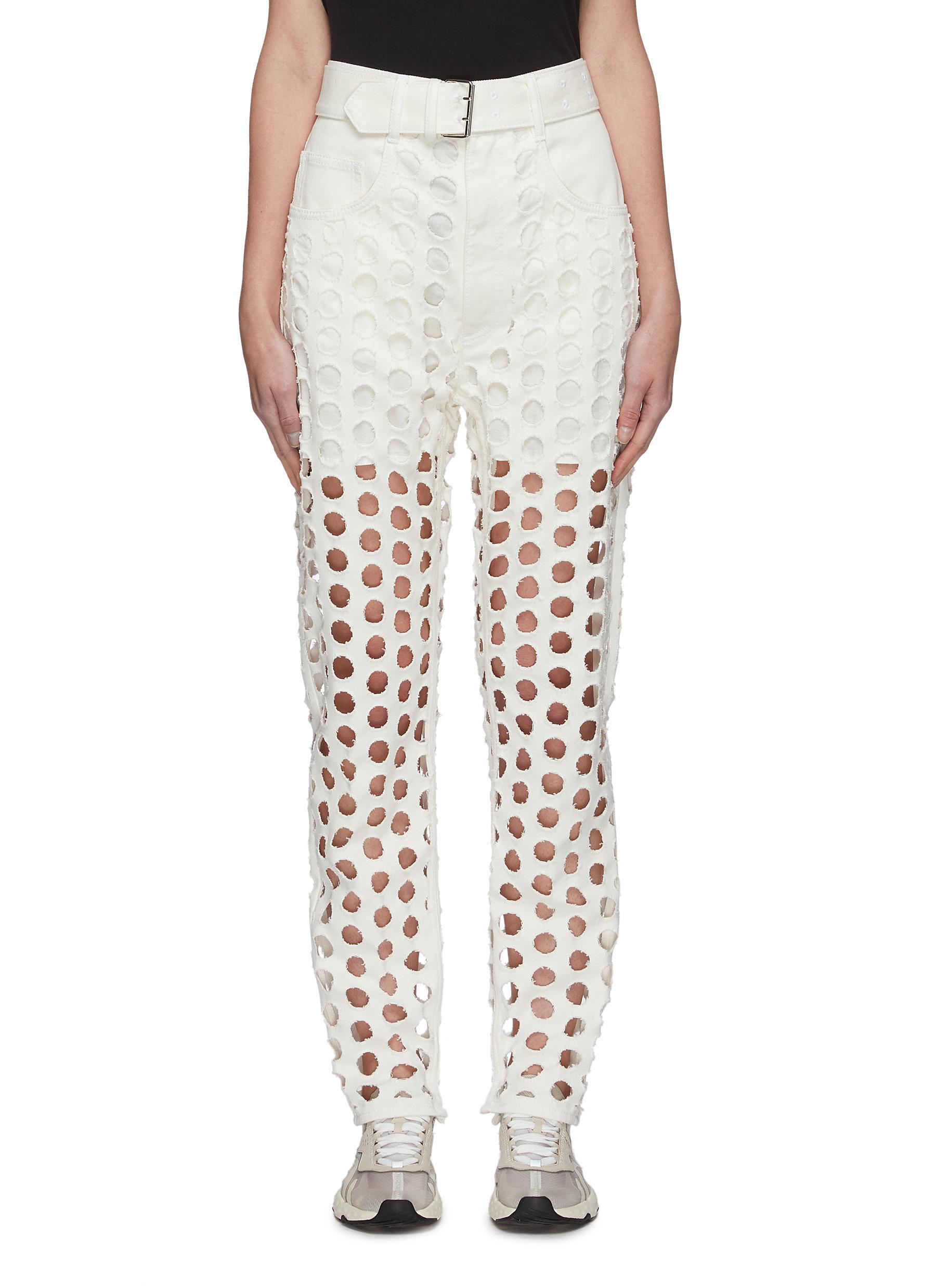 Buy Maison Margiela Jeans Laser cut polka dot belted jeans