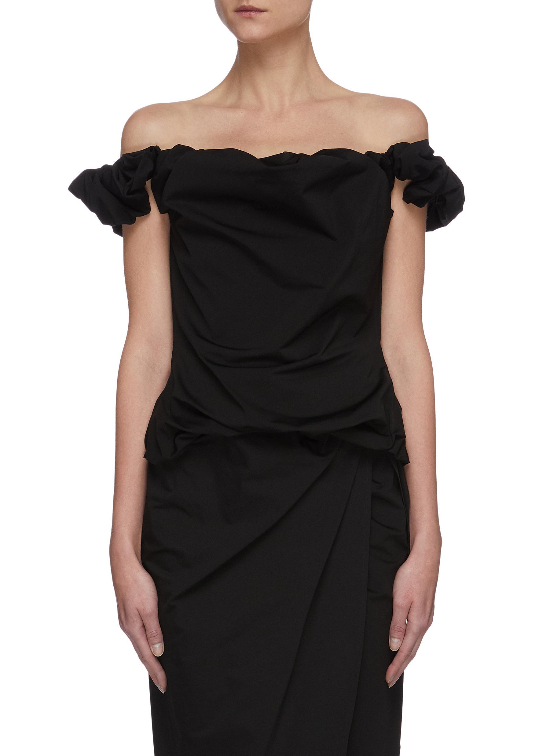 shop Maison Margiela Off shoulder crepe jersey drape top online