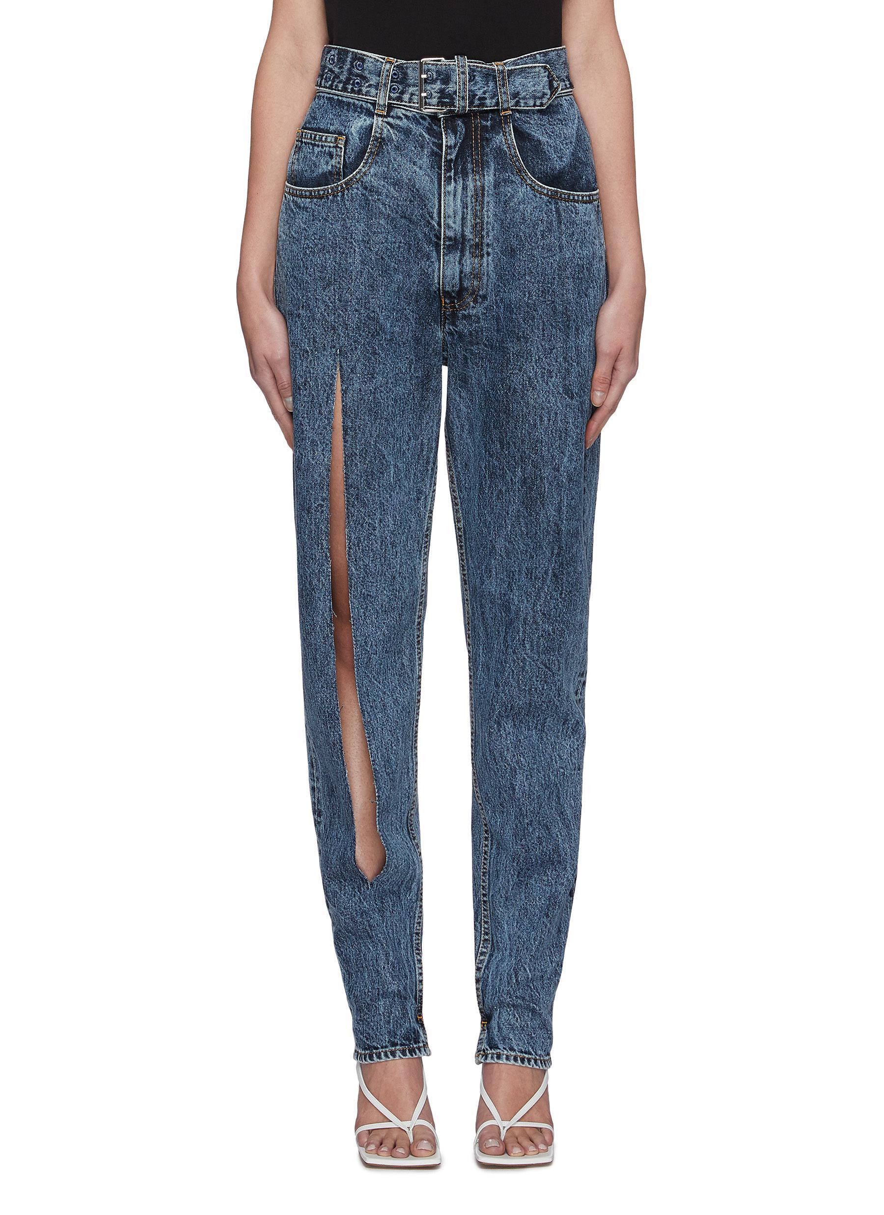 shop Maison Margiela Ripped leg belted stone wash jeans online