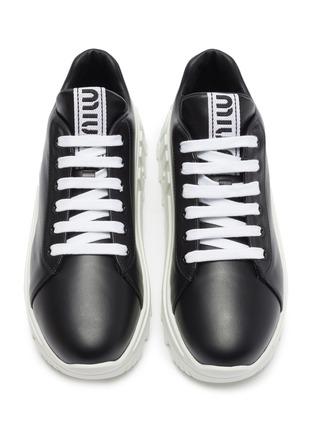 Detail View - Click To Enlarge - MIU MIU - Platform leather sneakers