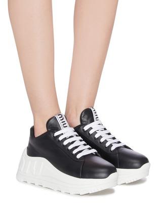 Figure View - Click To Enlarge - MIU MIU - Platform leather sneakers