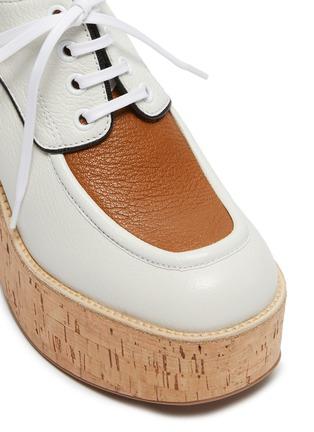 Detail View - Click To Enlarge - MIU MIU - Bi-colour platform calf leather oxfords