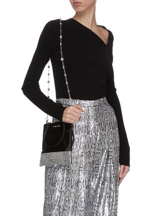 Front View - Click To Enlarge - MIU MIU - 'Starlight' strass embellished mini tote bag