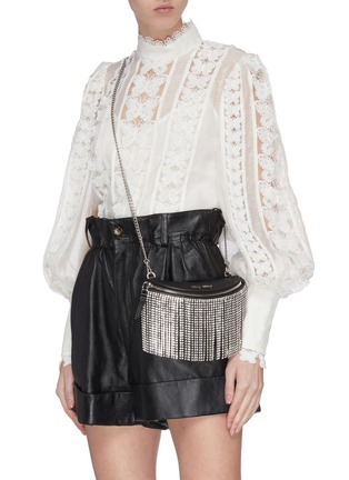 Front View - Click To Enlarge - MIU MIU - 'Starlight' fringe leather beltbag