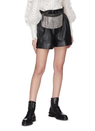 Figure View - Click To Enlarge - MIU MIU - 'Starlight' fringe leather beltbag