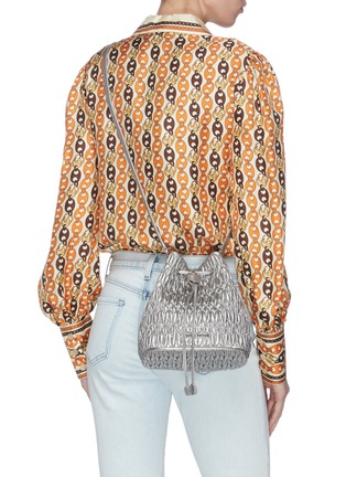 Front View - Click To Enlarge - MIU MIU - Embellished chain leather bucket bag