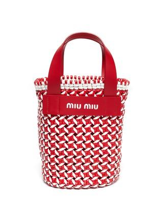 Main View - Click To Enlarge - MIU MIU - Intreccio woven leather bucket bag