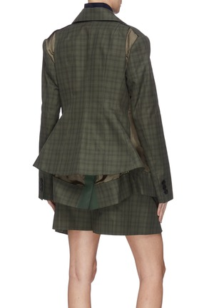 Back View - Click To Enlarge - SACAI - Double blazer check panelled jacket
