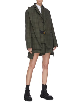 Figure View - Click To Enlarge - SACAI - Double blazer check panelled jacket