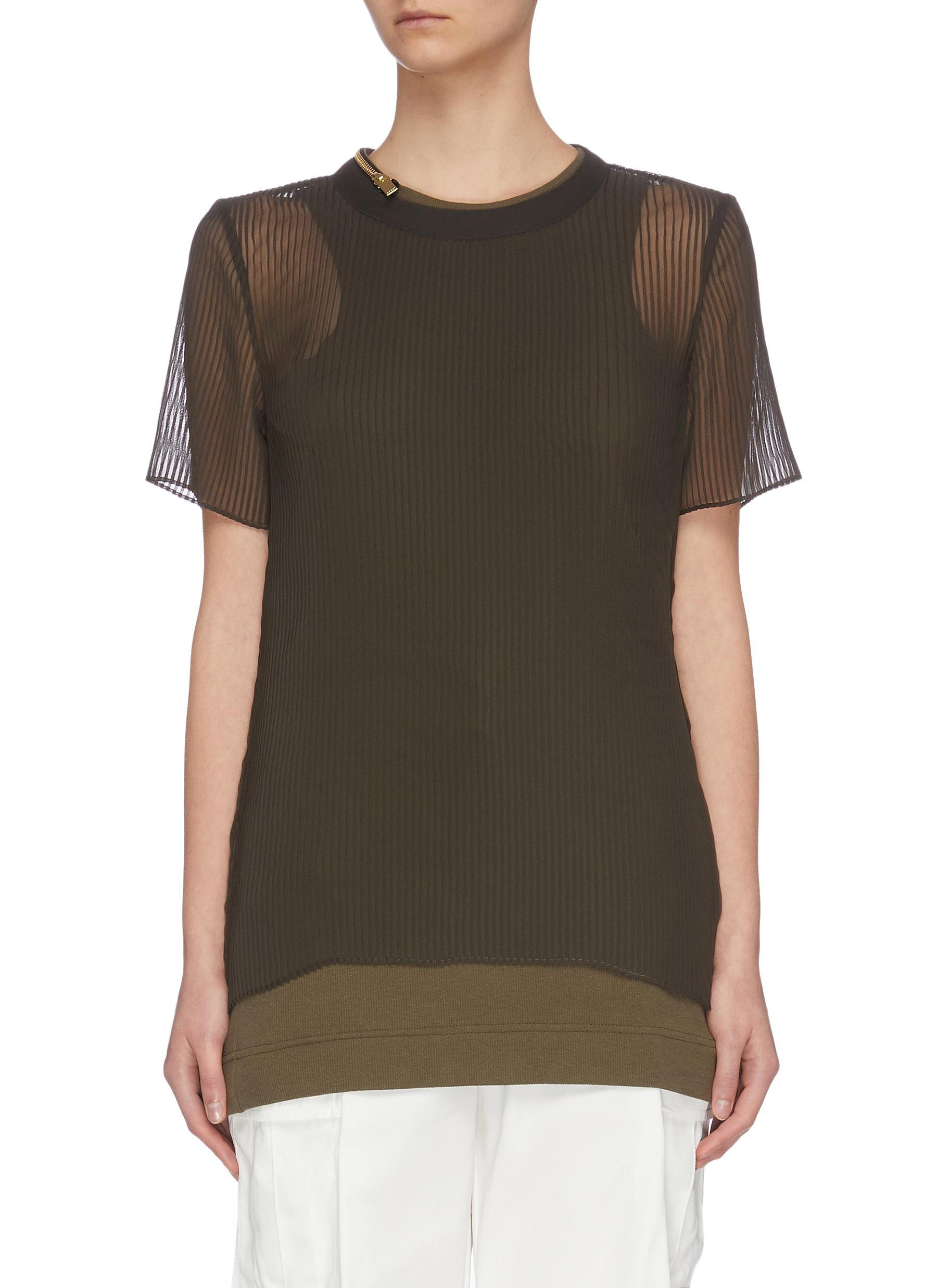 shop Sacai Sheer panel double neck plisse top online