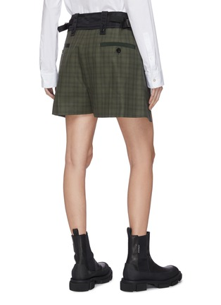 Back View - Click To Enlarge - SACAI - Side fold tailored check shorts