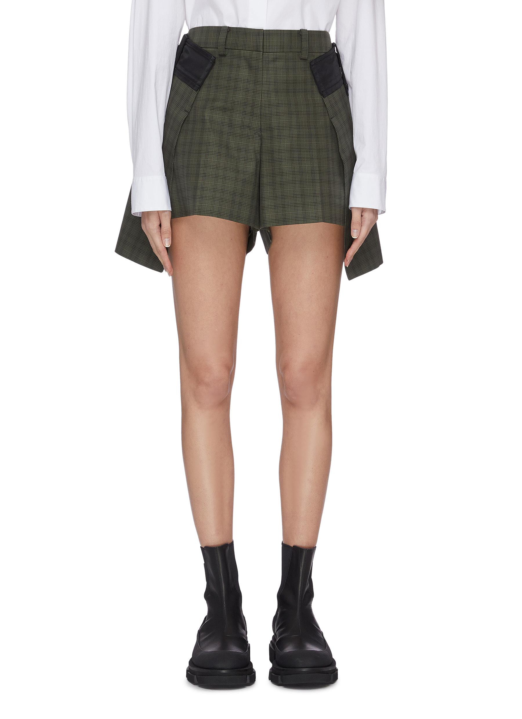 shop Sacai Side fold tailored check shorts online