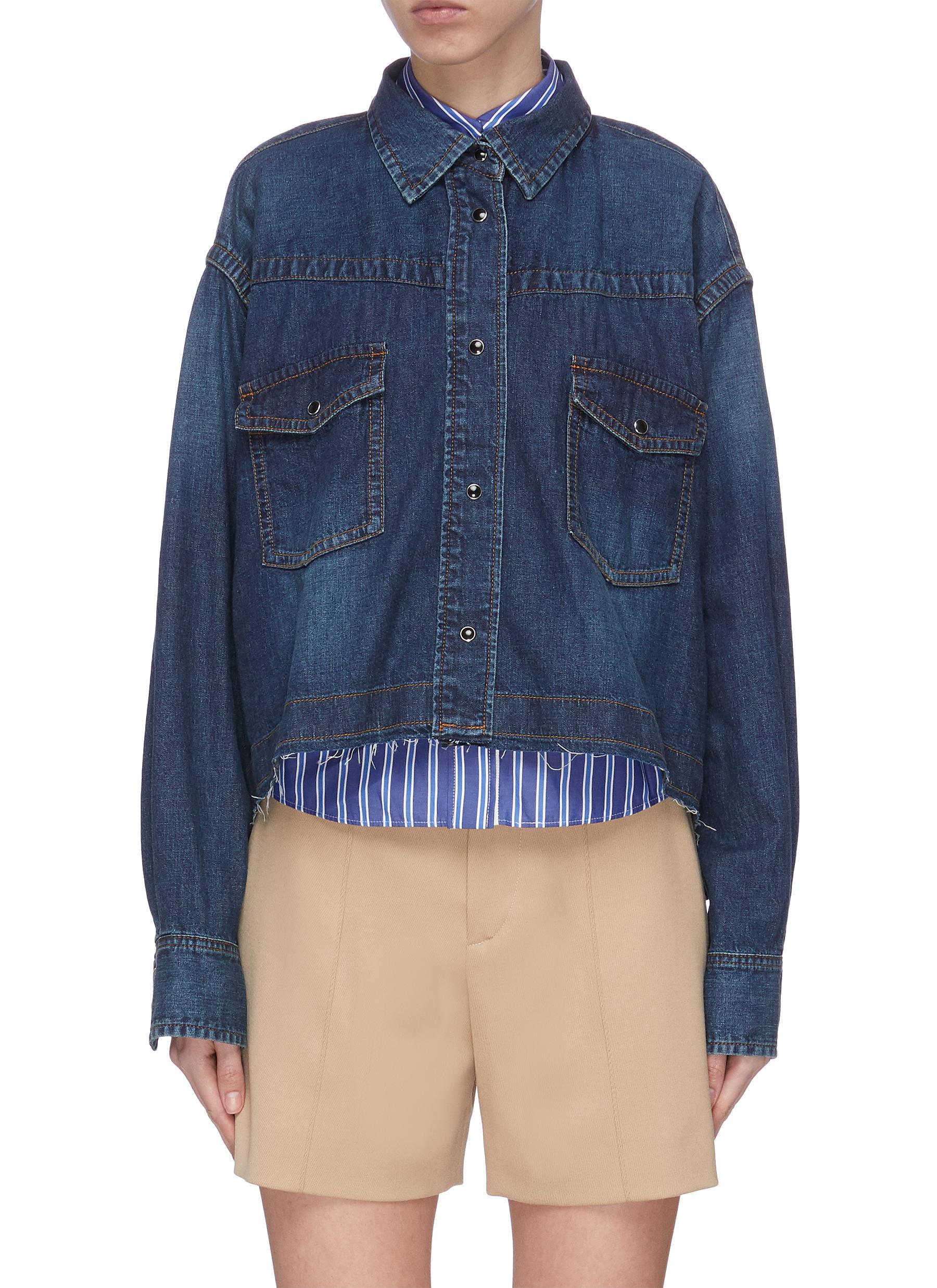 shop Sacai Double shirt crop denim top online