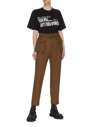 Figure View - Click To Enlarge - SACAI - 'The Opinion' slogan print T-shirt
