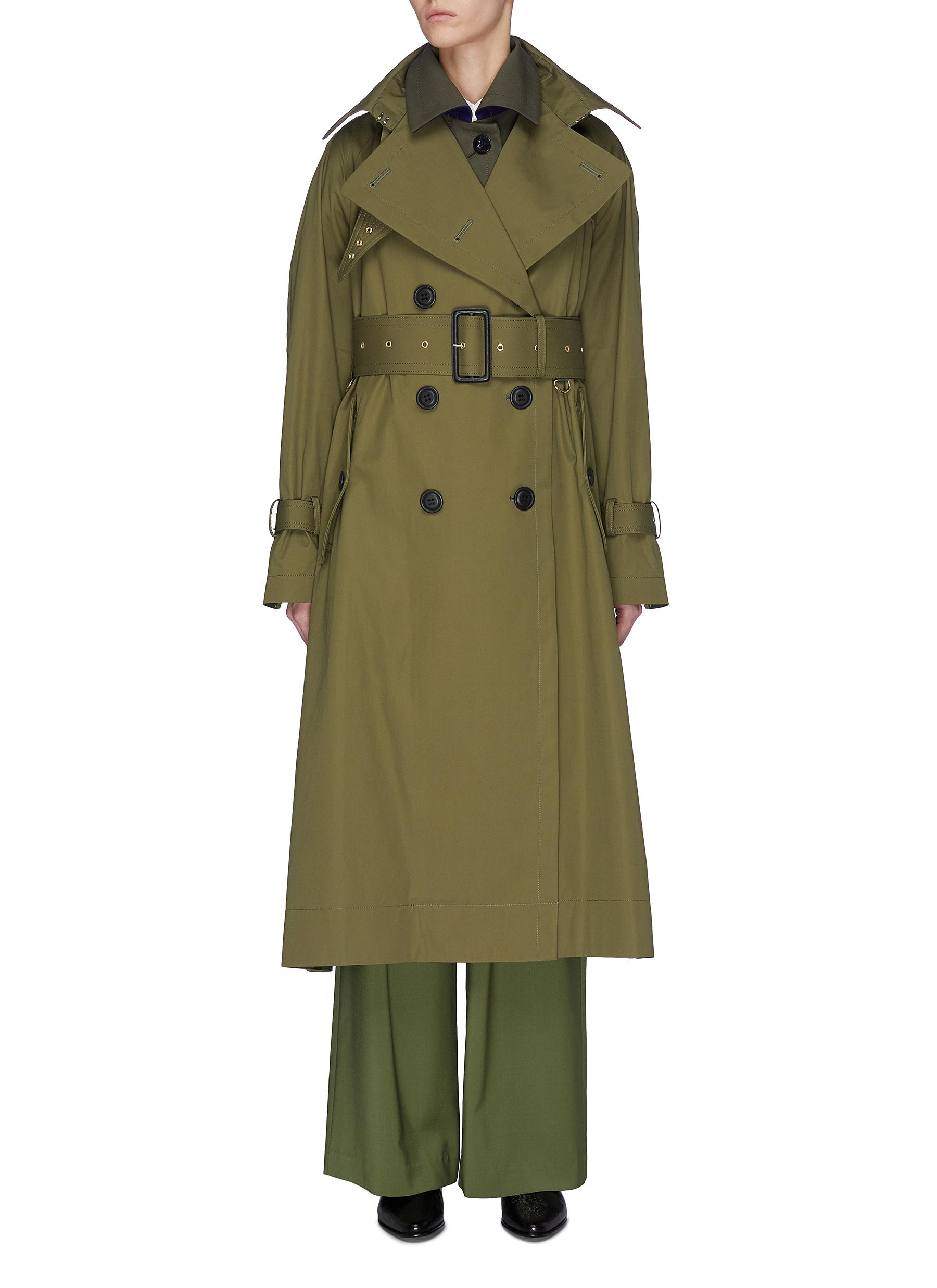 shop Sacai Belted paneled trench coat online