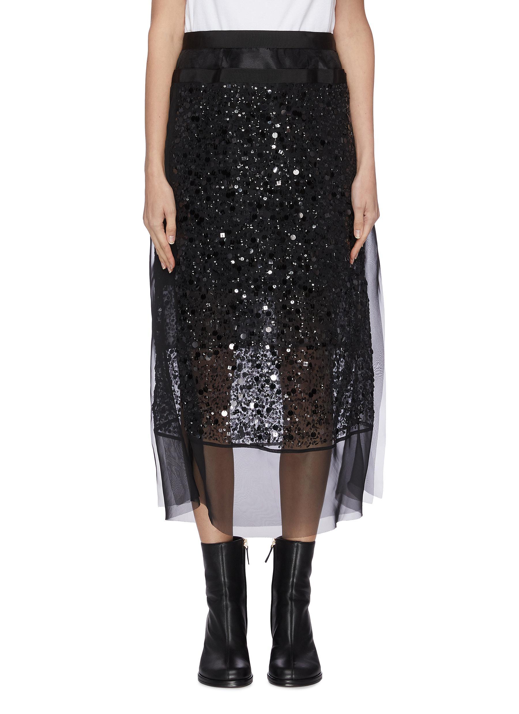 shop Sacai Sequin sheer skirt online