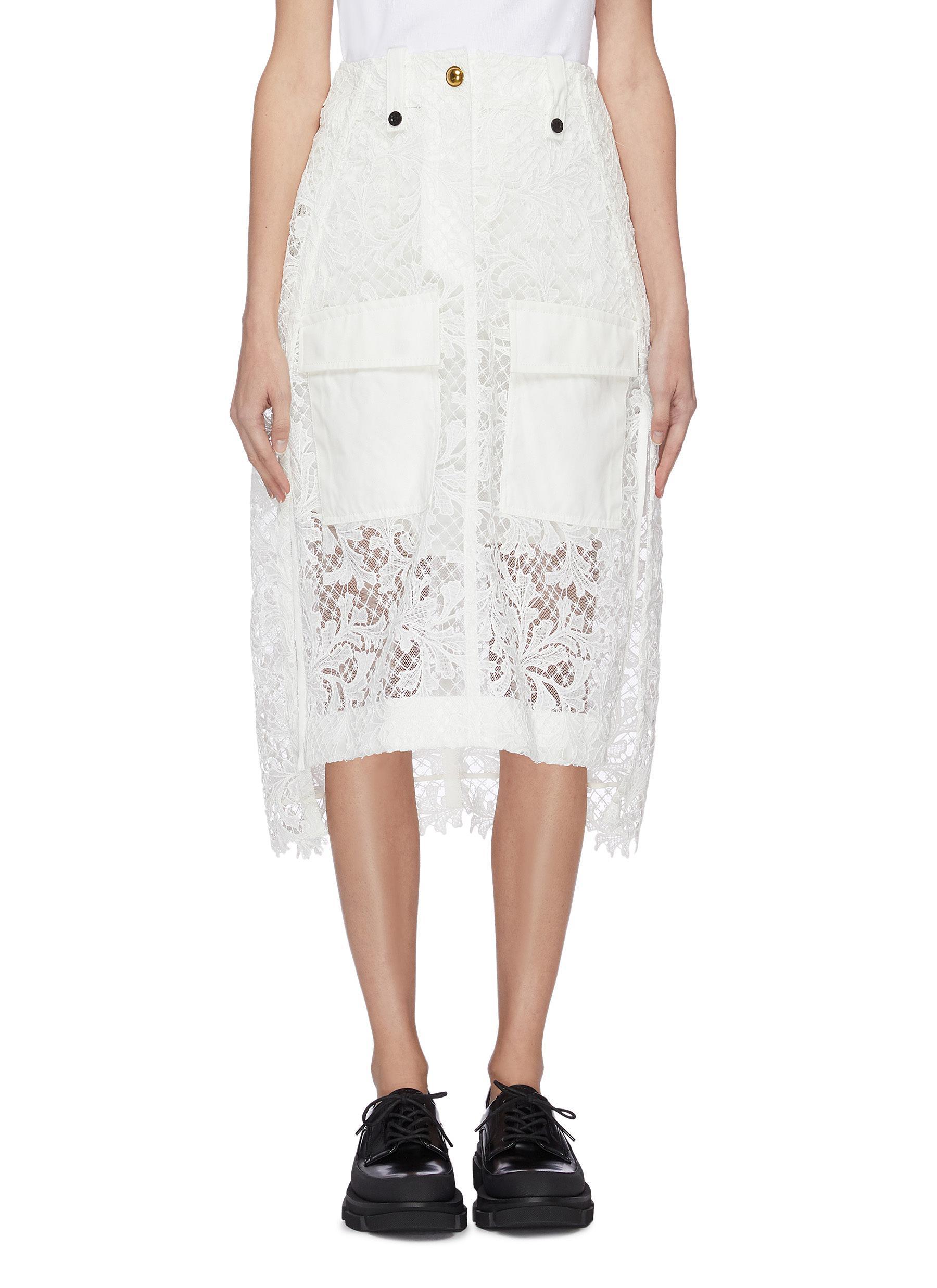 shop Sacai Side fold lace mix long skirt online
