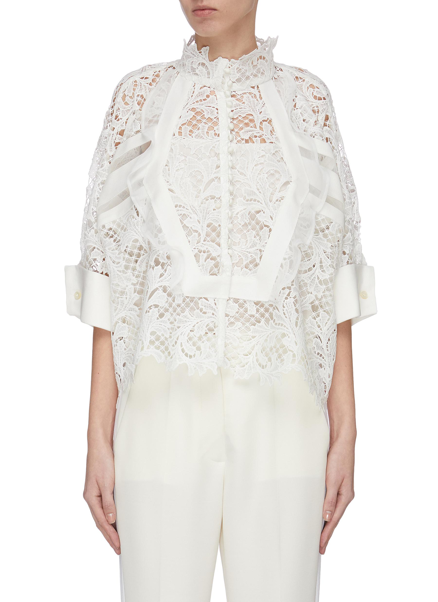 shop Sacai Lace embroidered panelled top online