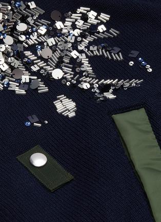 - SACAI - Spangle embellished colourblock patchwork bomber jacket