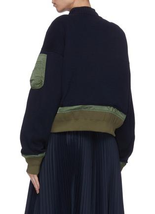 Back View - Click To Enlarge - SACAI - Spangle embellished colourblock patchwork bomber jacket