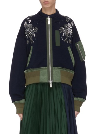 Main View - Click To Enlarge - SACAI - Spangle embellished colourblock patchwork bomber jacket