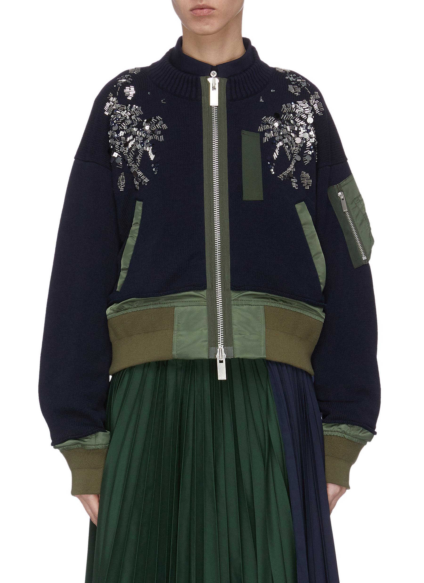 shop Sacai Spangle embellished colourblock patchwork bomber jacket online