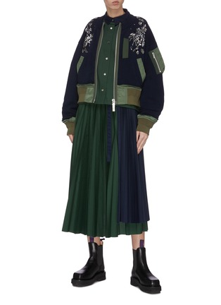 Figure View - Click To Enlarge - SACAI - Spangle embellished colourblock patchwork bomber jacket