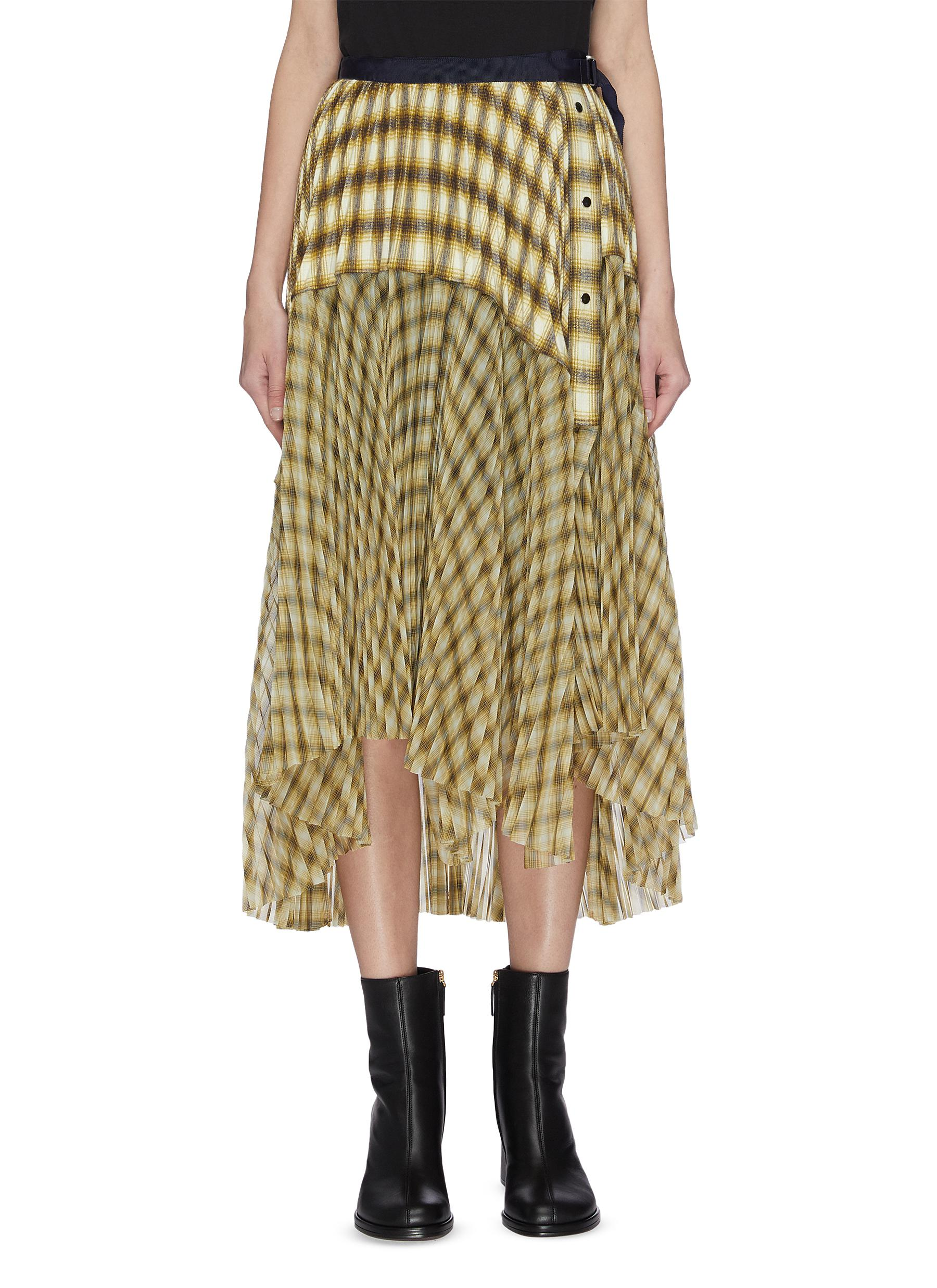 Buy Sacai Skirts Wrap-around pleated panelled flannel midi skirt