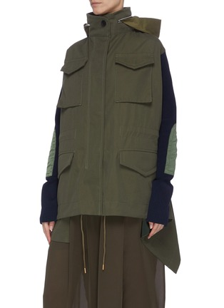 Detail View - Click To Enlarge - SACAI - Colourblock panelled multi pocket knit sleeve parka