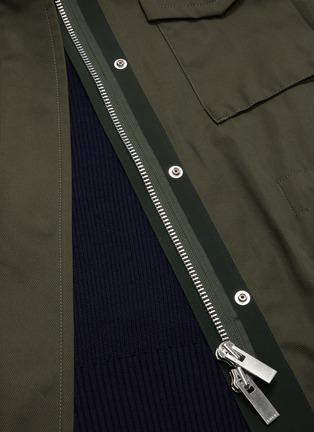 - SACAI - Colourblock panelled multi pocket knit sleeve parka