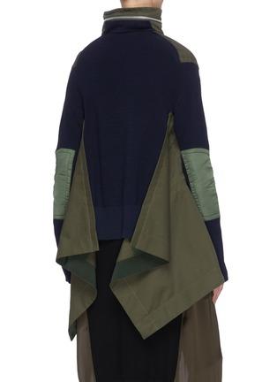 Back View - Click To Enlarge - SACAI - Colourblock panelled multi pocket knit sleeve parka