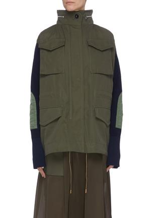 Main View - Click To Enlarge - SACAI - Colourblock panelled multi pocket knit sleeve parka