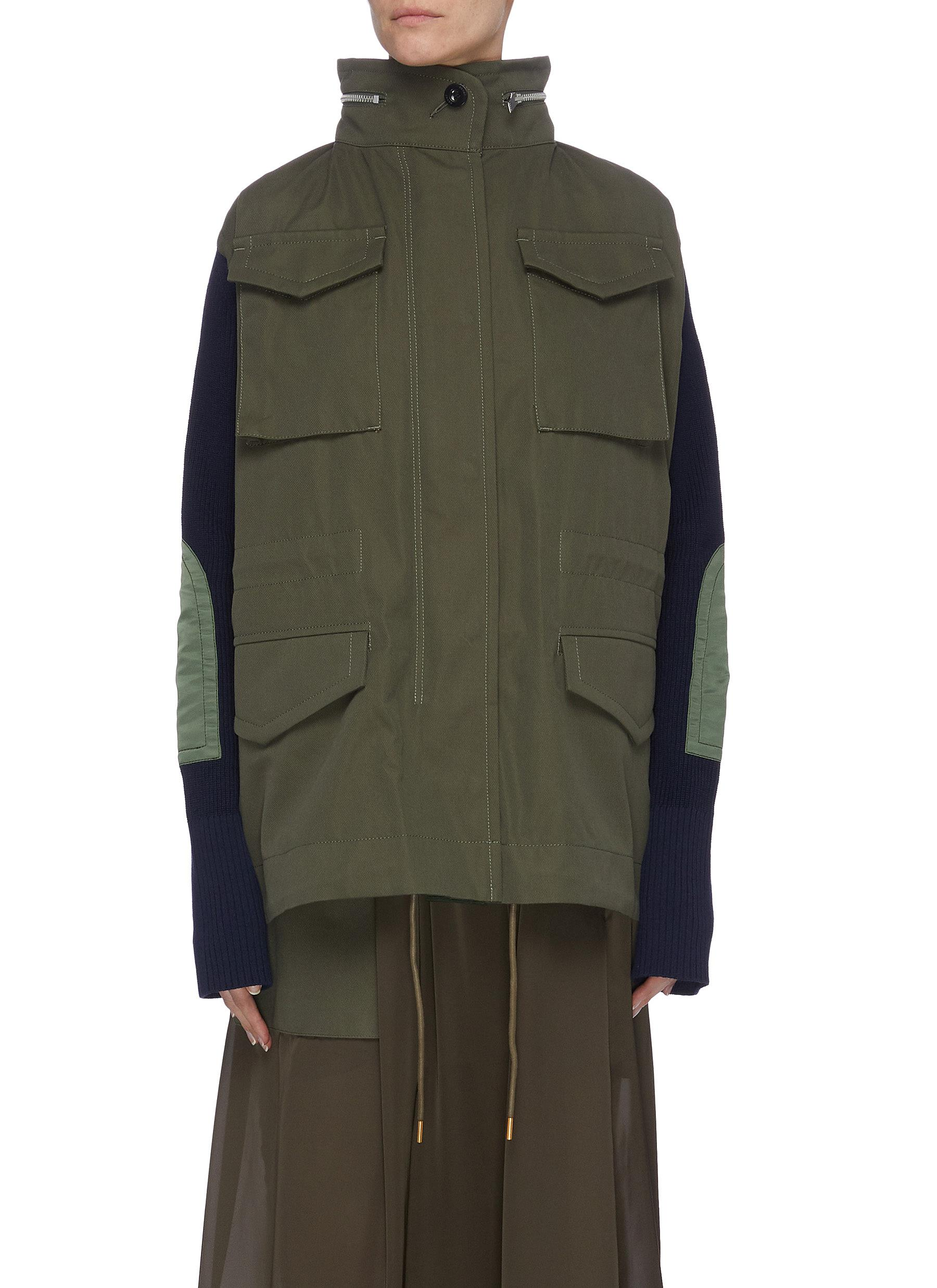 shop Sacai Colourblock panelled multi pocket knit sleeve parka online
