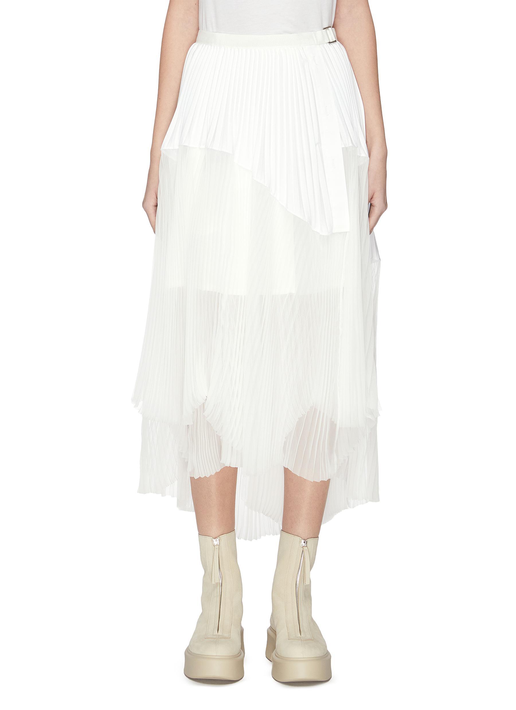 shop Sacai Wrap pleated chiffon hem skirt online