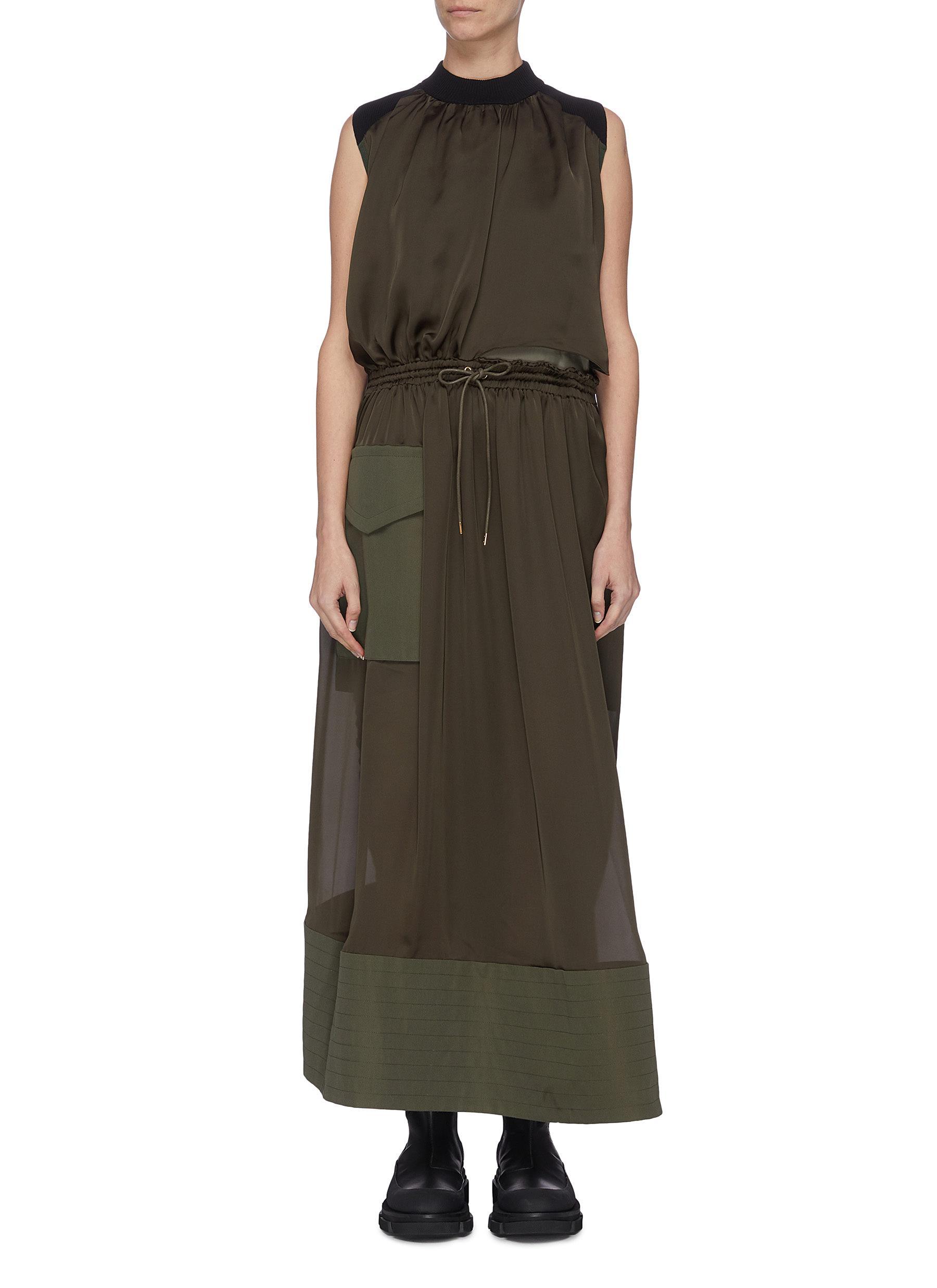 Buy Sacai Dresses Sleeveless panelled dress
