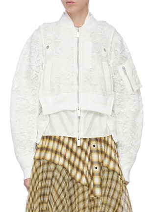 Main View - Click To Enlarge - SACAI - Double lace crop bomber jacket