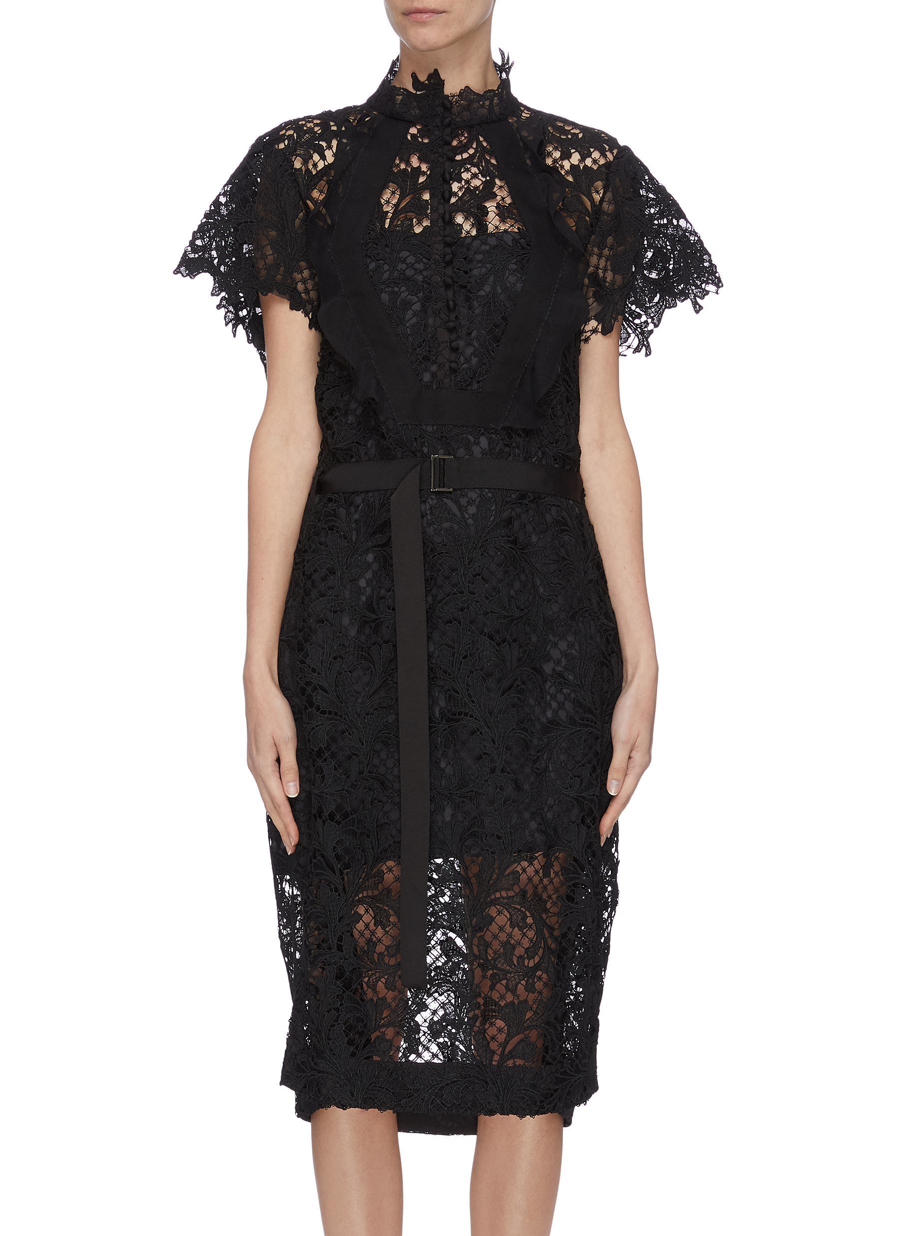 shop Sacai Lace belted dress online