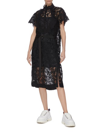 Figure View - Click To Enlarge - SACAI - Lace belted dress