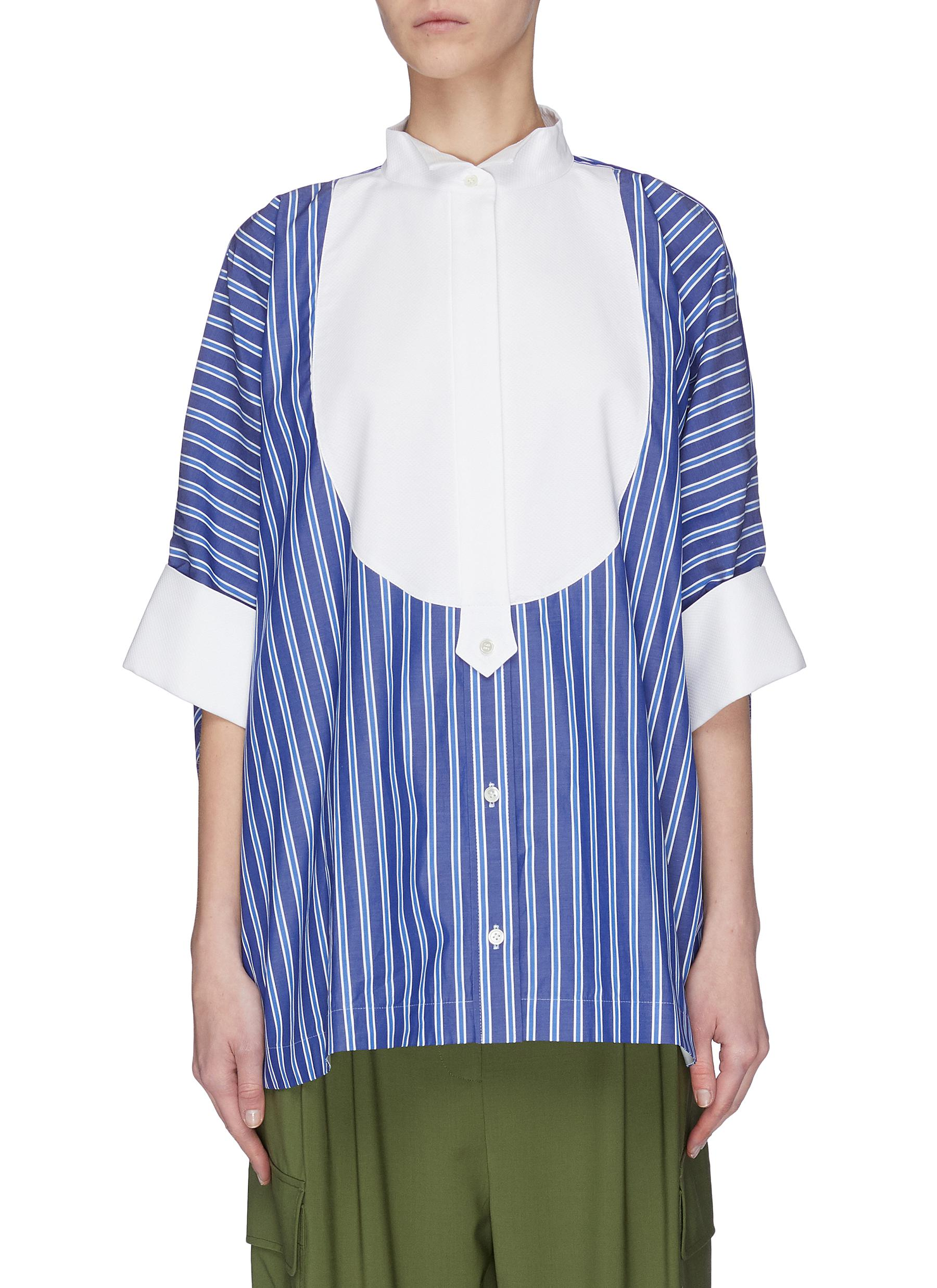 Buy Sacai Tops 'Bowtie' oversized stripe shirt