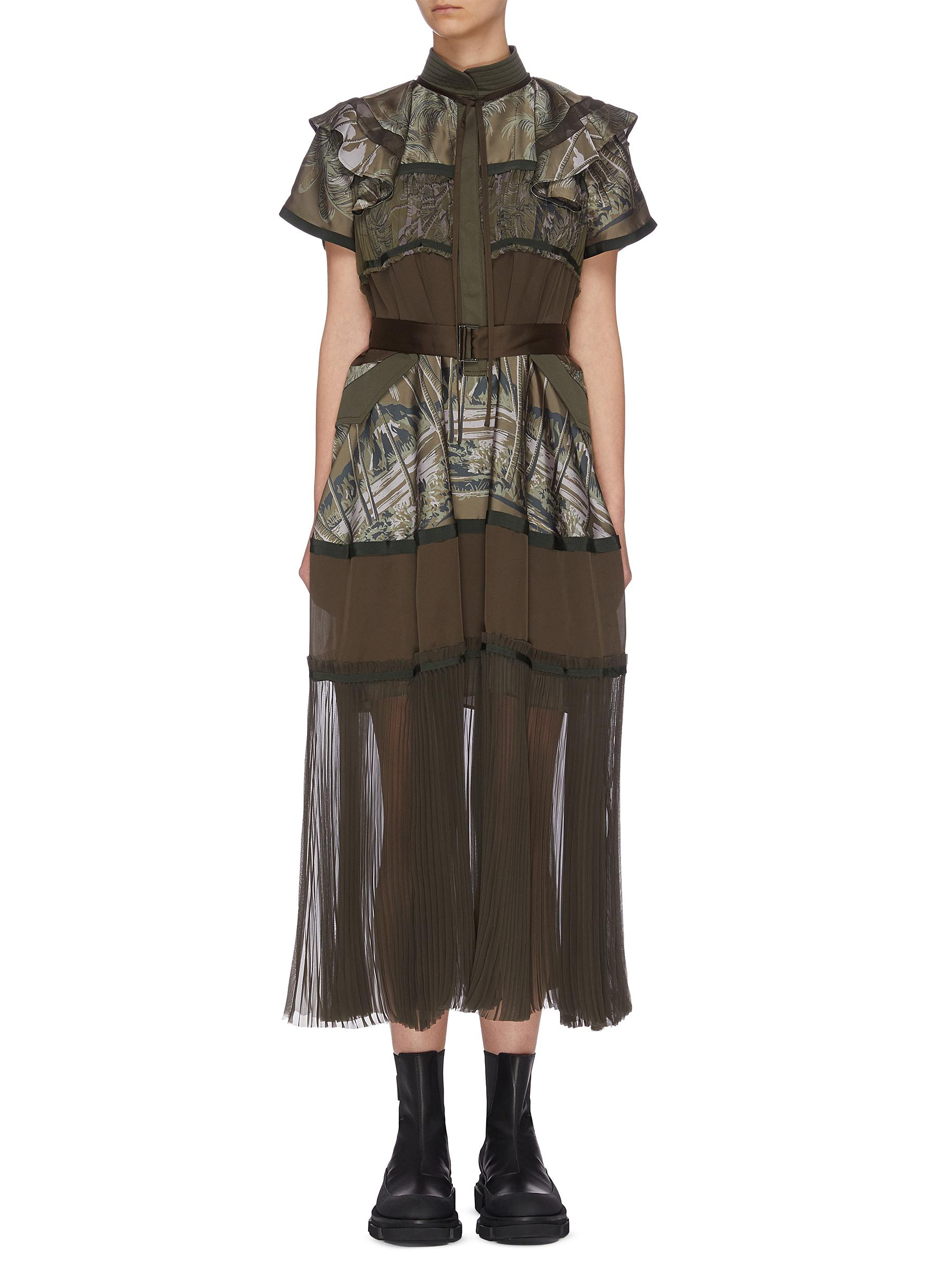 shop Sacai 'Jungle' pleated panelled belted midi dress online