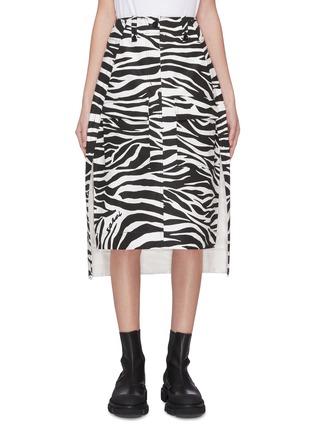 Main View - Click To Enlarge - SACAI - Zebra print slit hem midi skirt