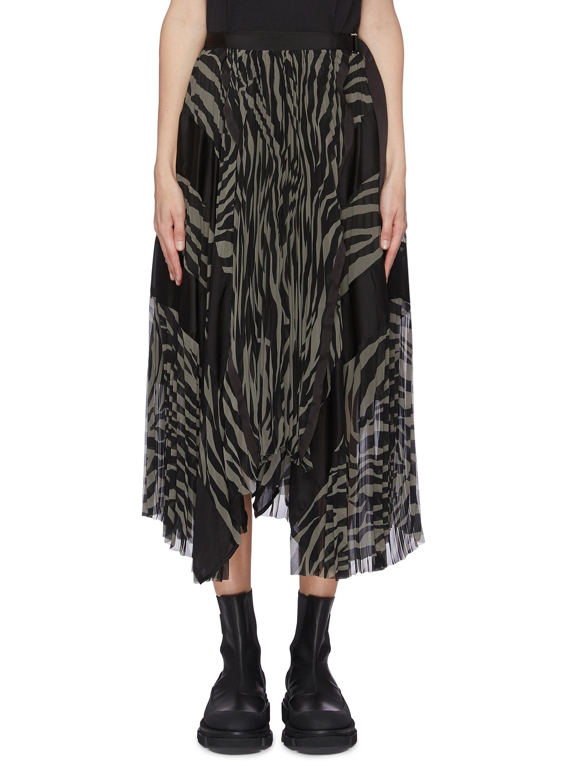 shop Sacai Zebra print pleated long skirt online