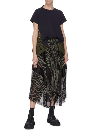 Figure View - Click To Enlarge - SACAI - Zebra print pleated long skirt